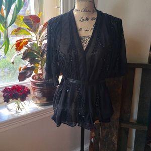 Black beaded sheer top w/ kimono sleeves